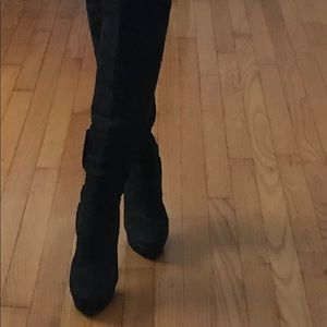 Over the Knee Black Bebe Suede Ruffle Boots